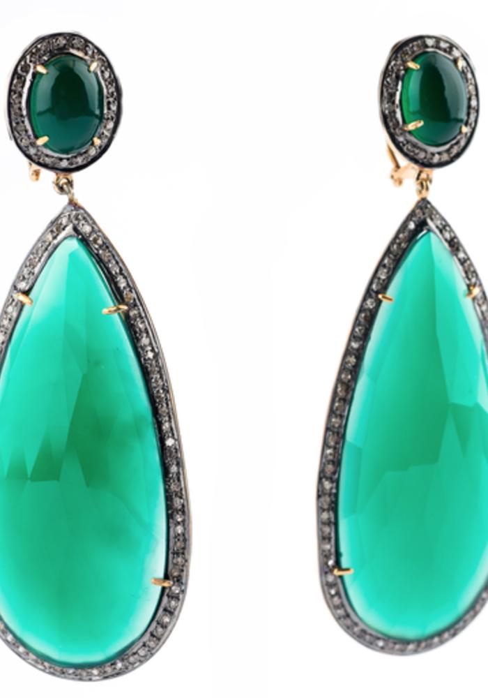 Green Onyx and Diamond Pear Earrings
