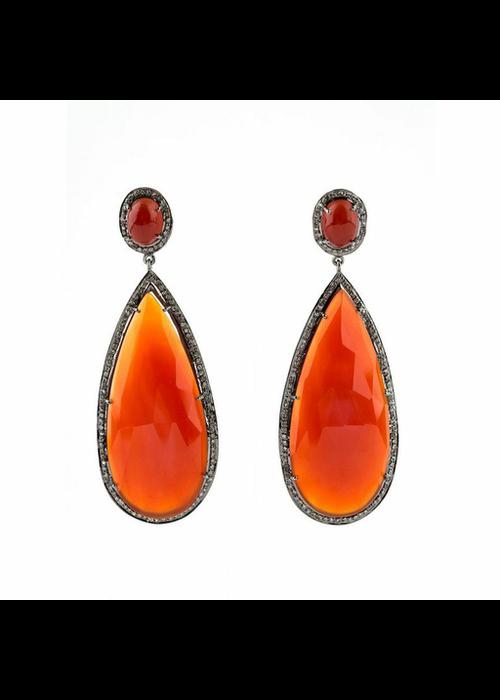 Mina Danielle Orange Onyx and Diamond Pear shape Earrings
