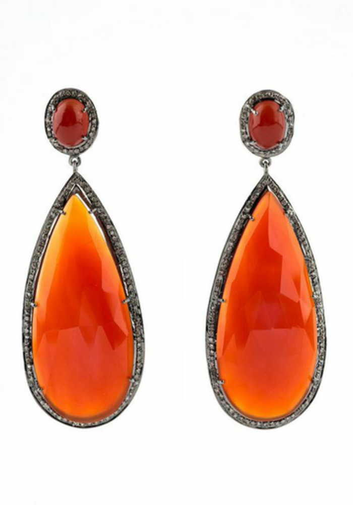 Orange Onyx and Diamond Pear shape Earrings