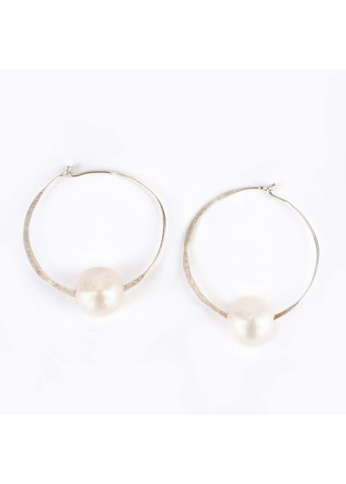Mina Danielle Hammered Silver Hoops with Large Drilled White FWP
