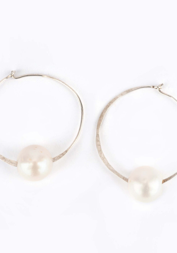 Hammered Silver Hoops with Large Drilled White FWP