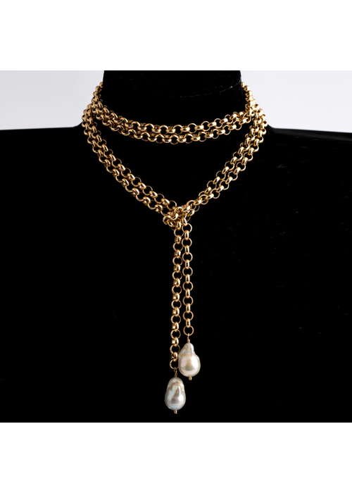 Mina Danielle Gold Rolo Chain Lariat with 2 hanging Baroque Pearls