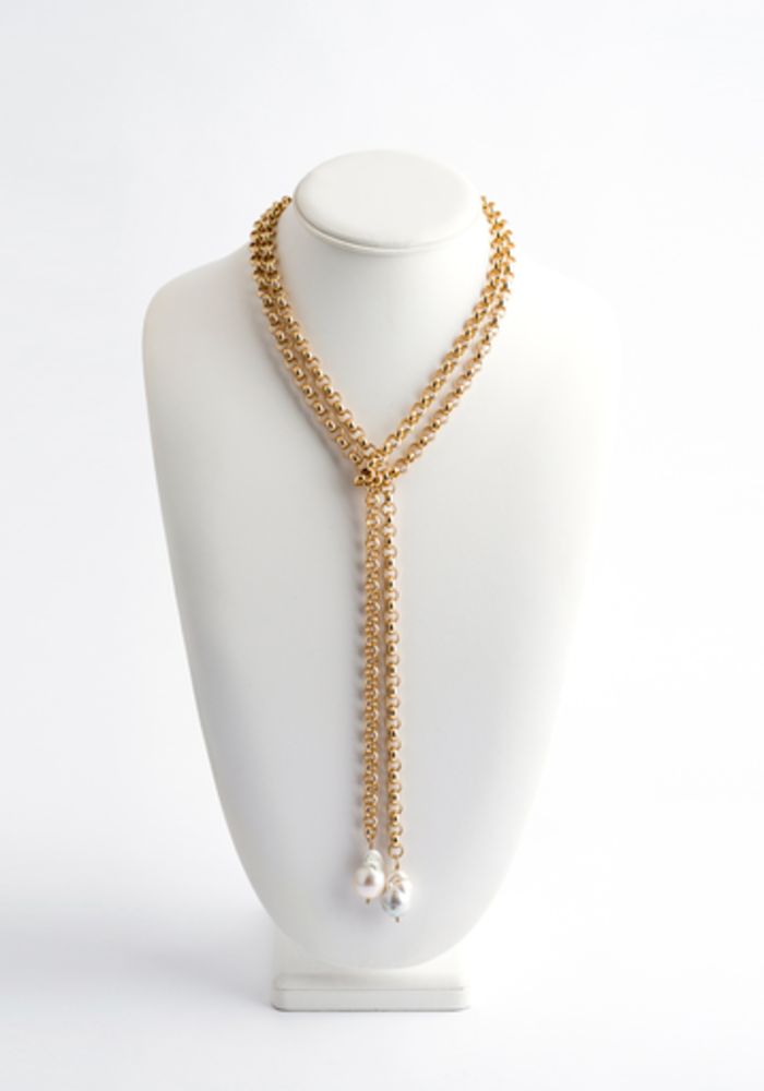Gold Rolo Chain Lariat with 2 hanging Baroque Pearls
