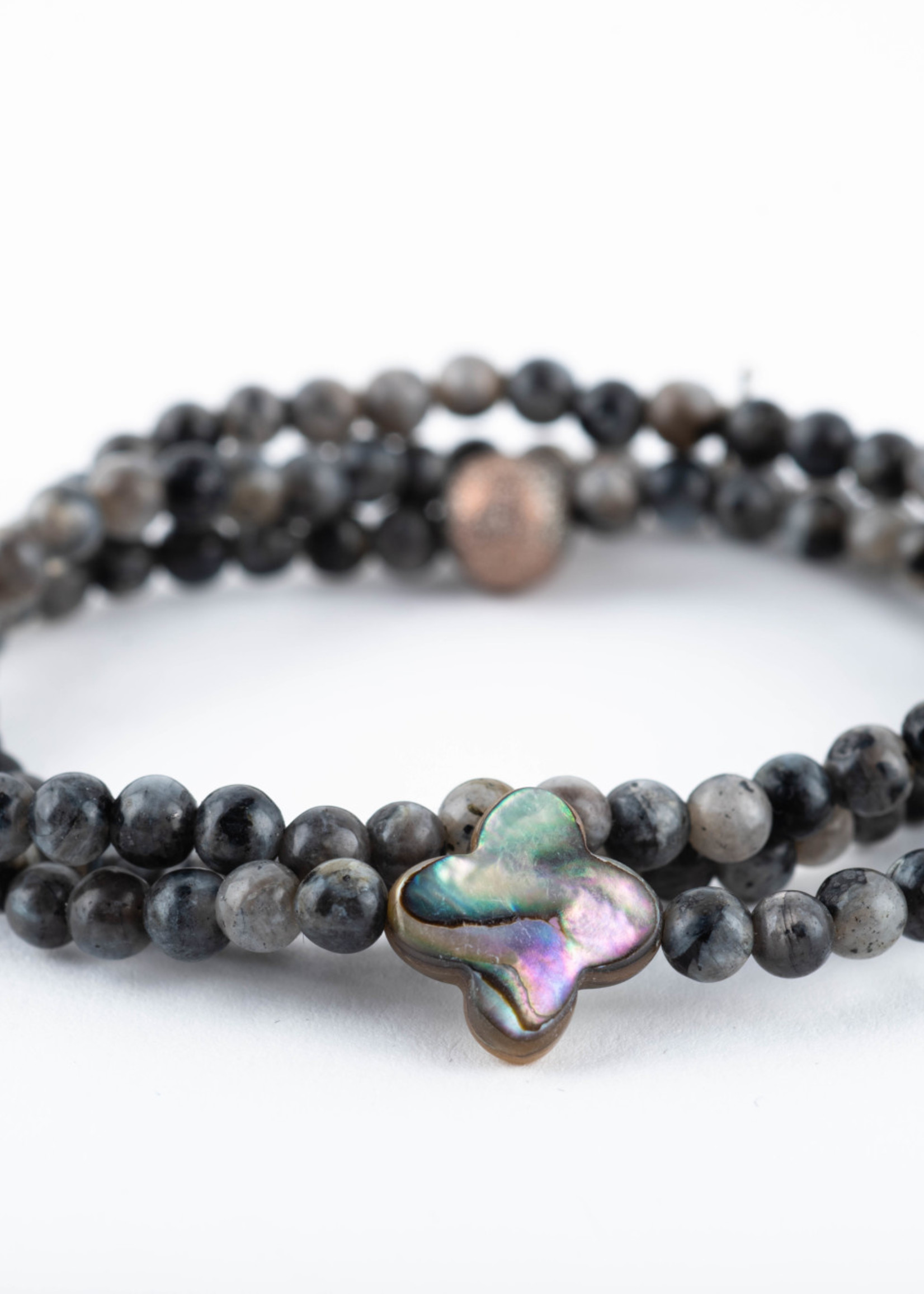 Mina Danielle Small Black Labradorite Wrap with Clover Shaped Mother of Pearl