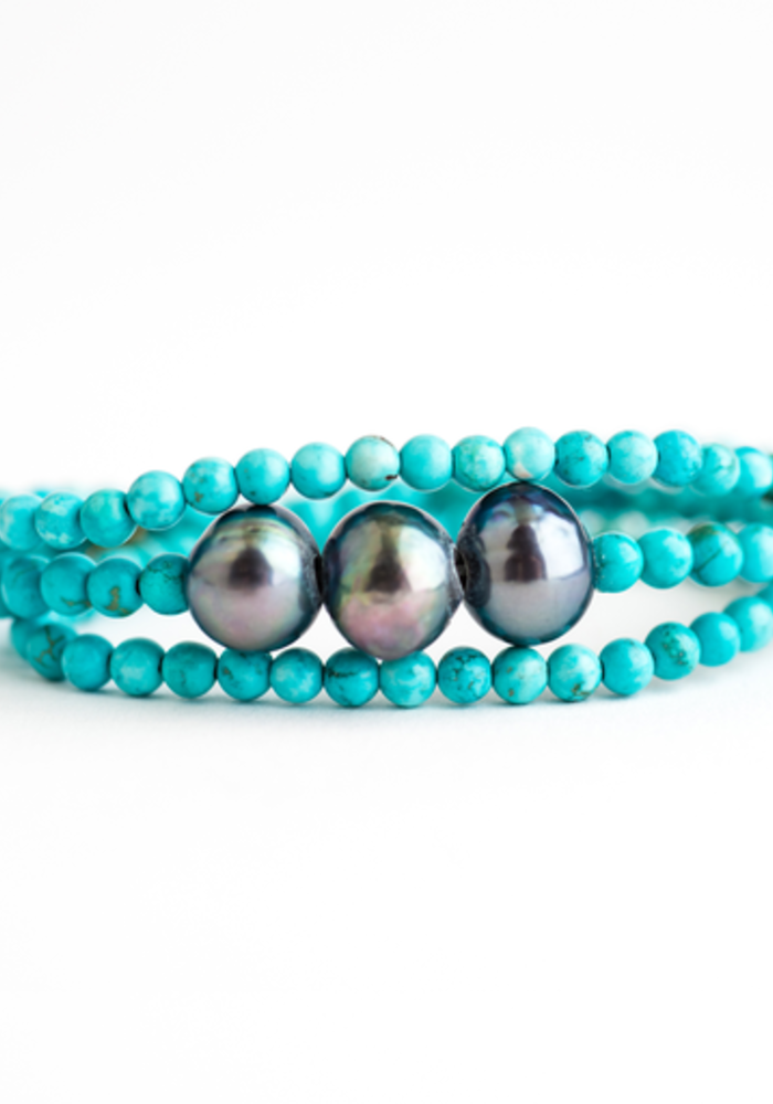 Turquoise wrap with Gray Pearls