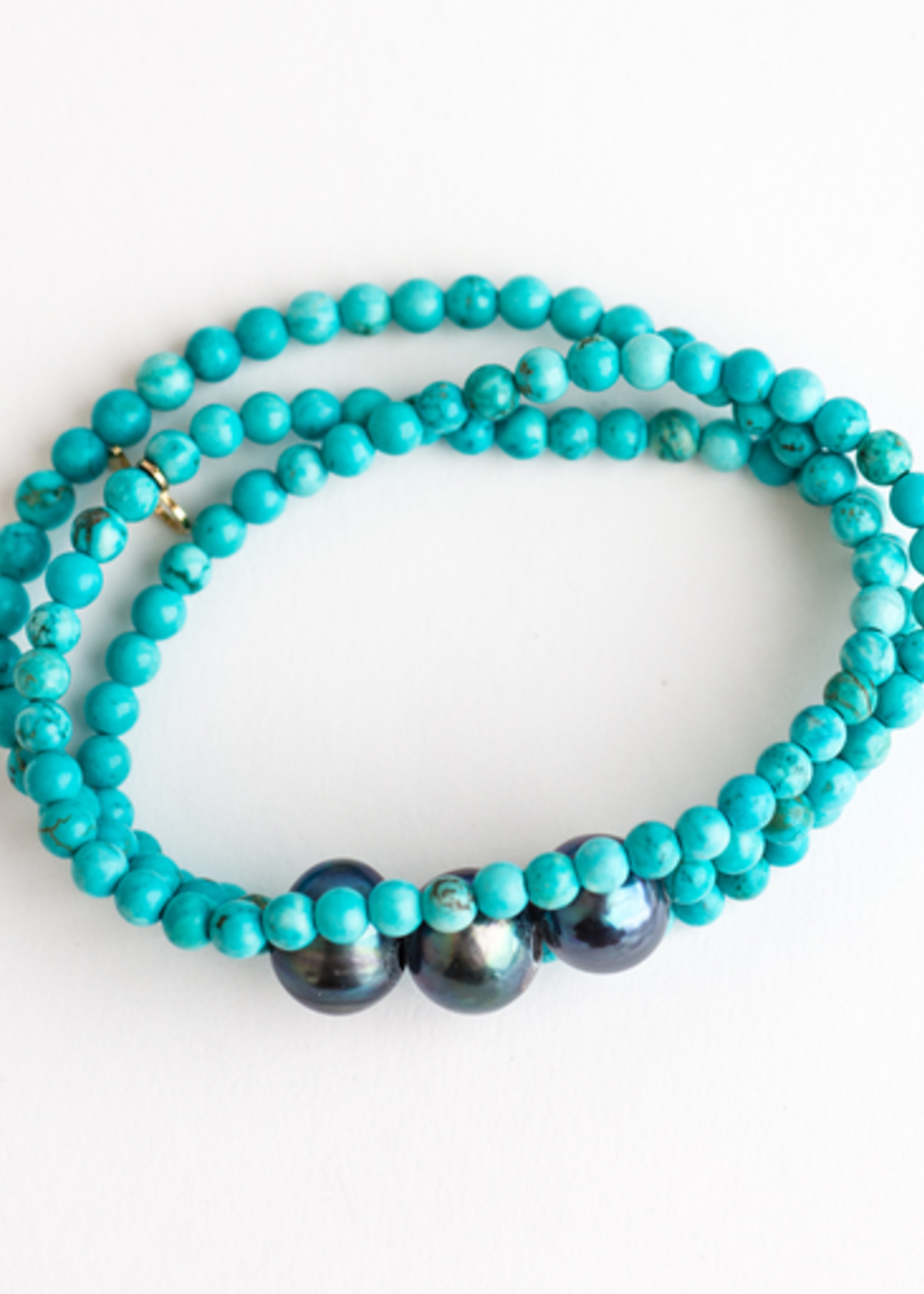 Mina Danielle Turquoise wrap with Gray Pearls