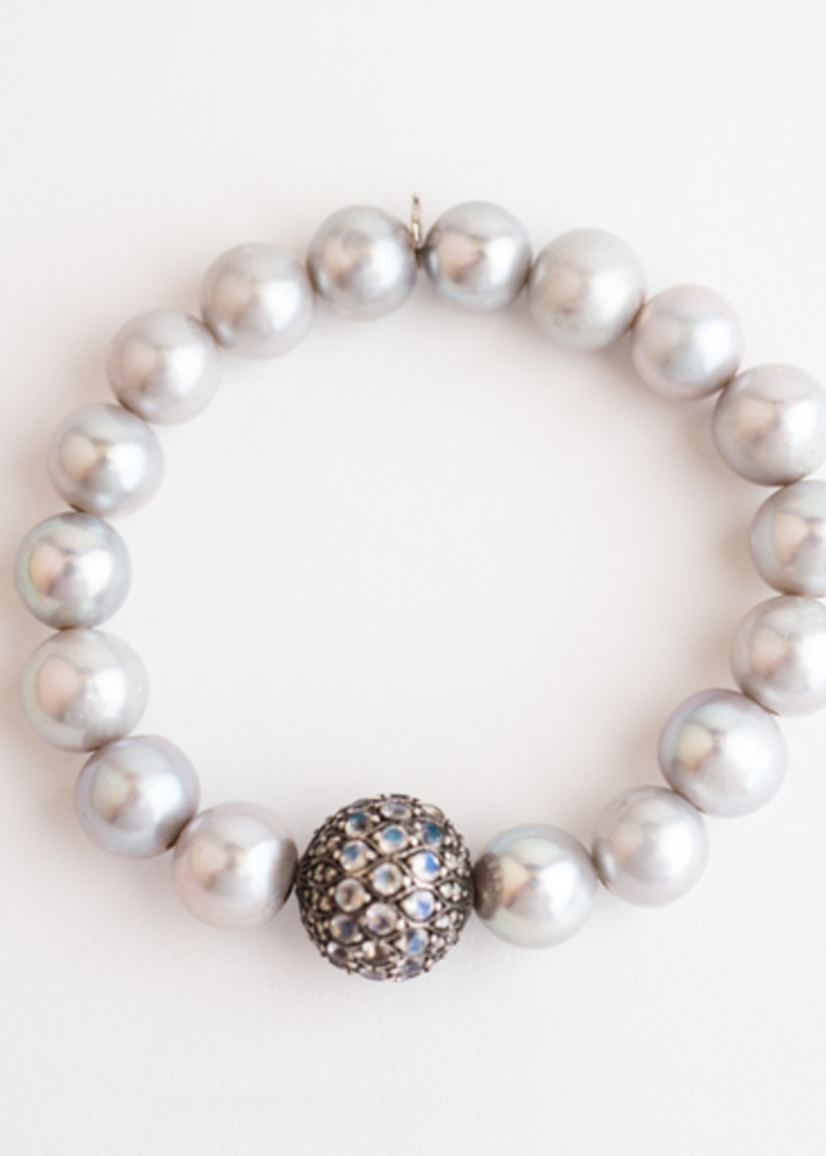 Mina Danielle Gray Pearls with Moonstone and Diamond Sphere
