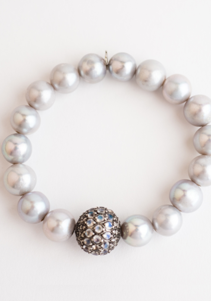 Gray Pearls with Moonstone and Diamond Sphere