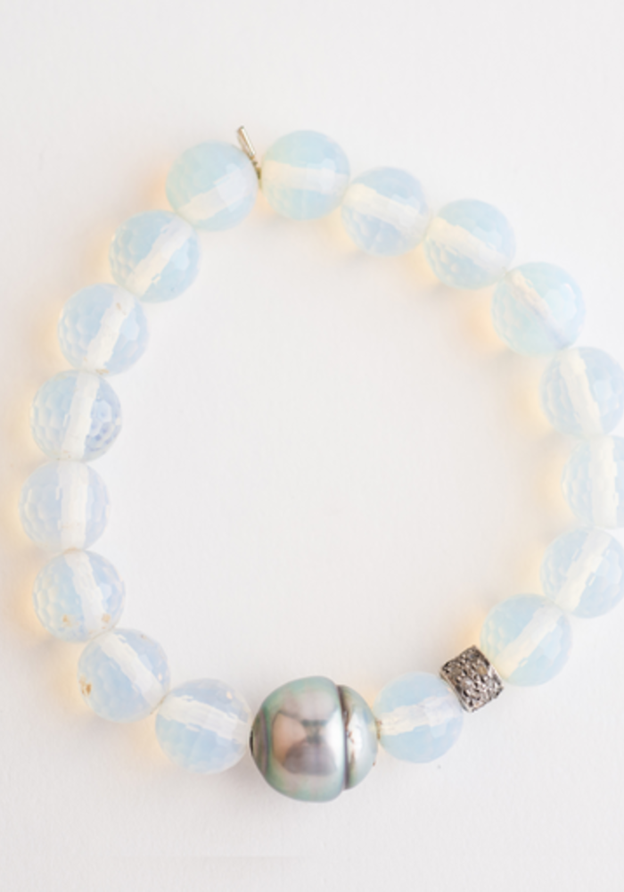Opalite with Tahitan Pearl and Diamond Roundel