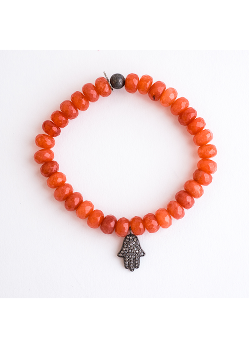 Mina Danielle Orange Agate Roundel's with Diamond Hamsa Charm