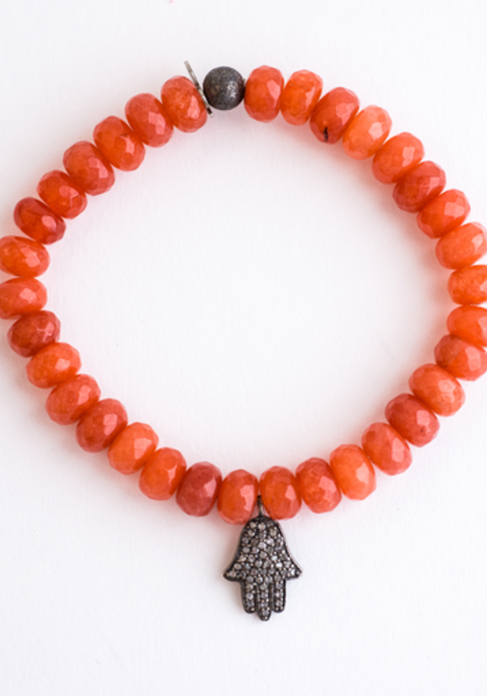Orange Agate Roundel's with Diamond Hamsa Charm