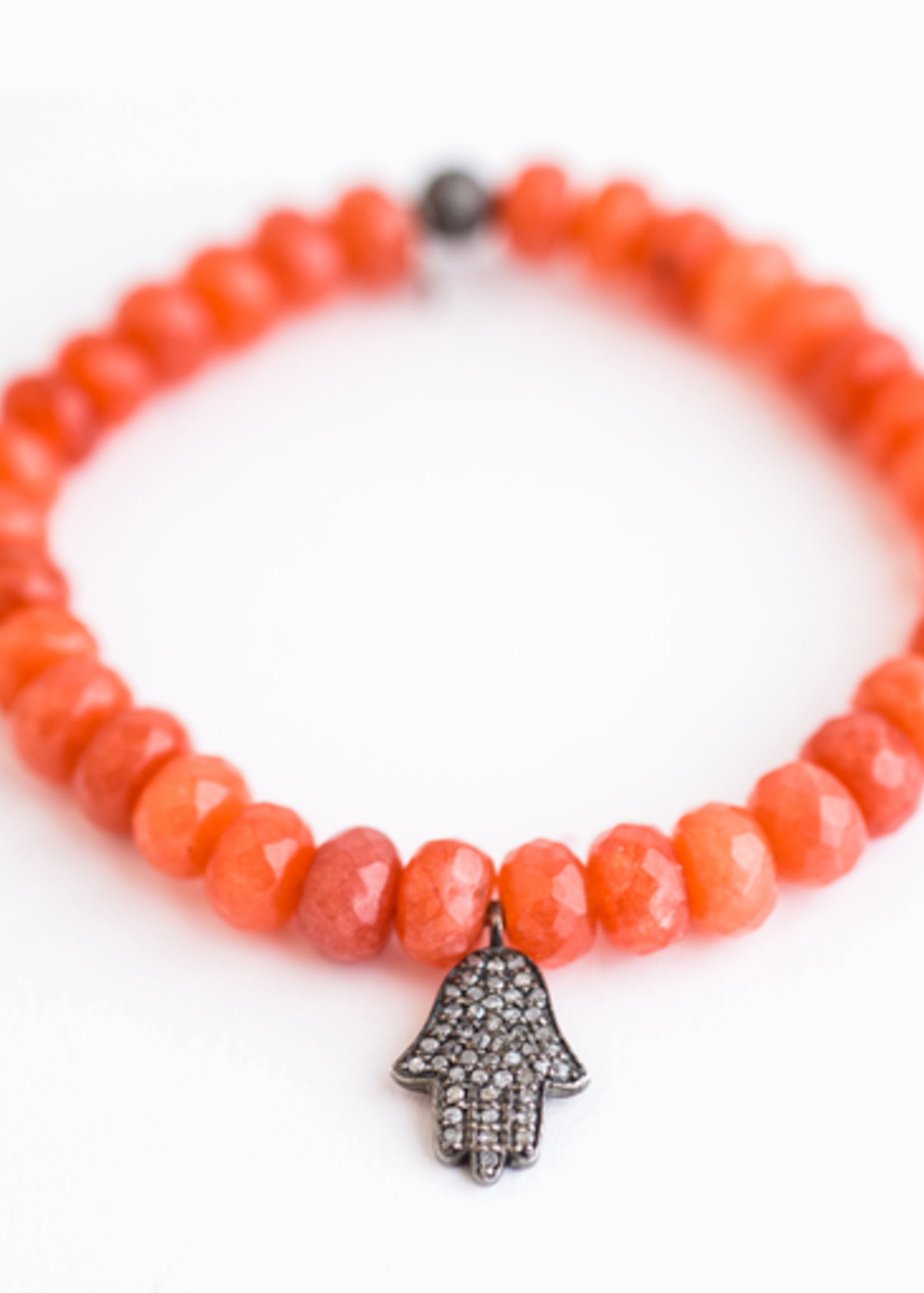 Mina Danielle Orange Agate Roundel's with Diamond Hamsa Charm