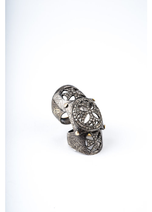 Mina Danielle Medieval Knuckle Ring with Diamonds