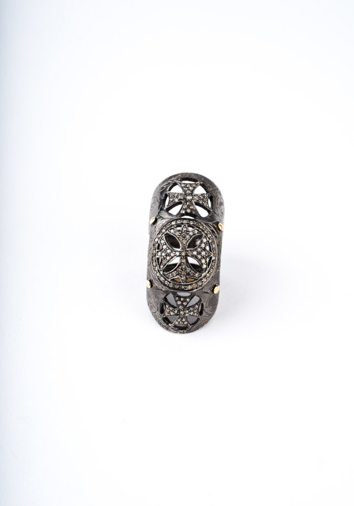 Medieval Knuckle Ring with Diamonds
