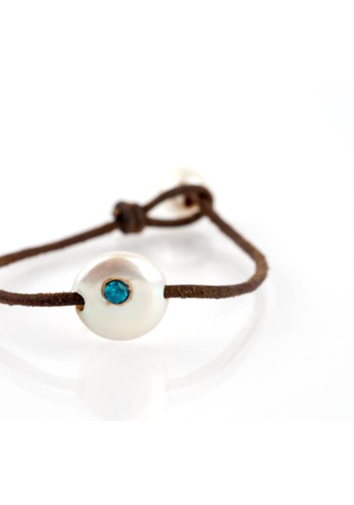 Coin Pearl with Blue Semi-Precious Stone