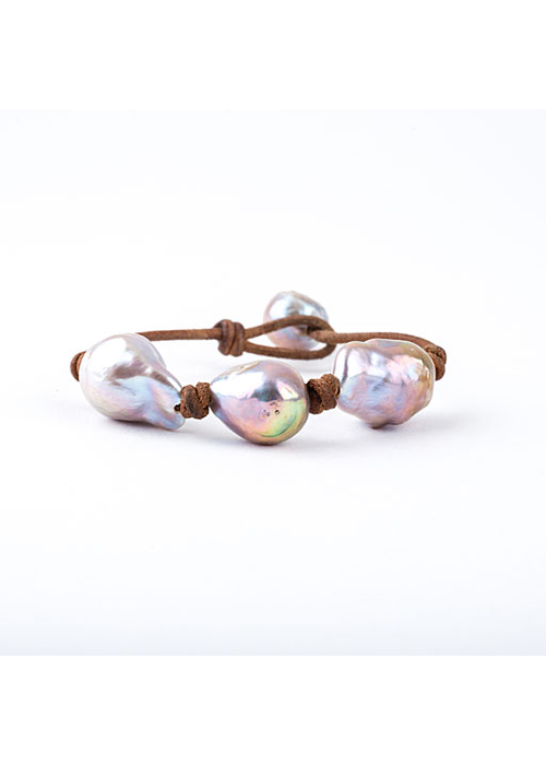 Mina Danielle 3 Pink Baroque Pearls knotted on Tan Leather cord. Pearl Button Closure