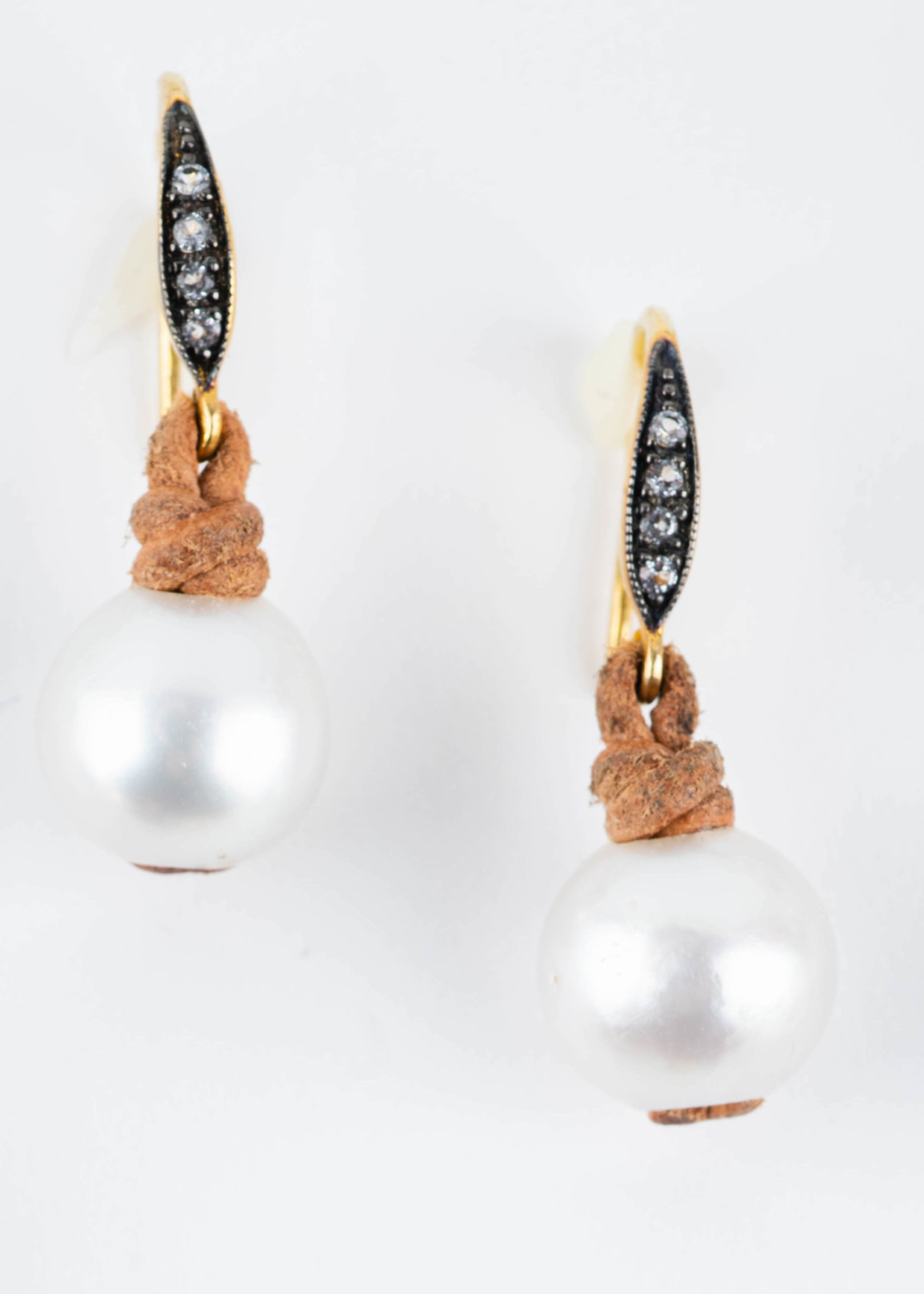 White South Sea Pearls with Diamond Ear Wires