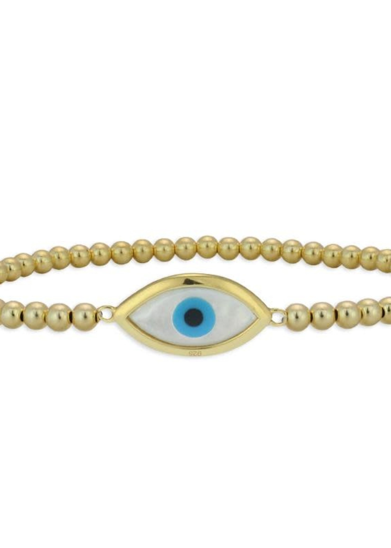 Gold Beaded Mother of Pearl Evil Eye Stacking
