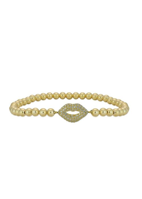 Gold Pave Lips Stacking