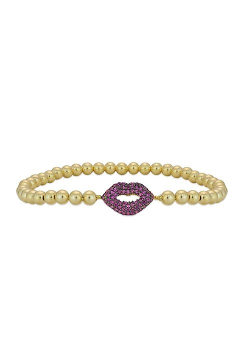 Gold Beaded with Pave Ruby Lips Stacking