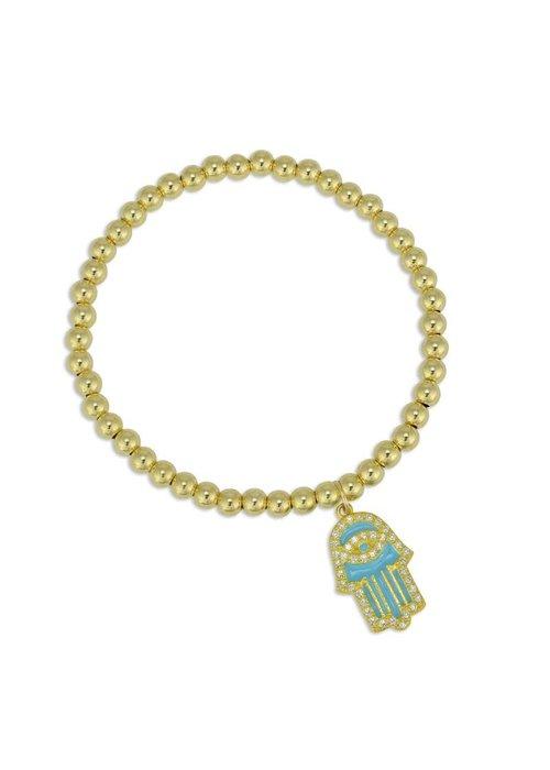 Gold Beaded Turquoise Enamel Hamsa Charm Stacking