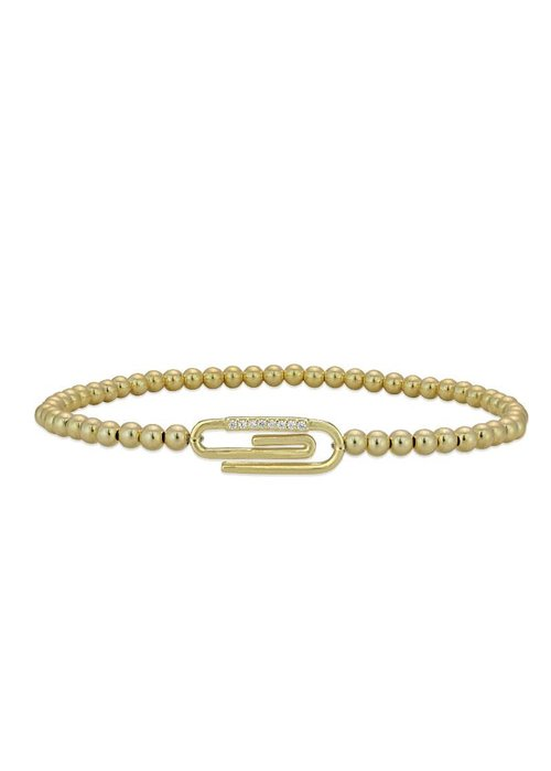 Gold Beaded Pave Paperclip Stacking