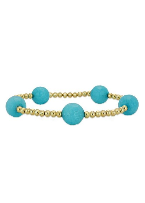 Gold with Turquoise Beaded Stacking