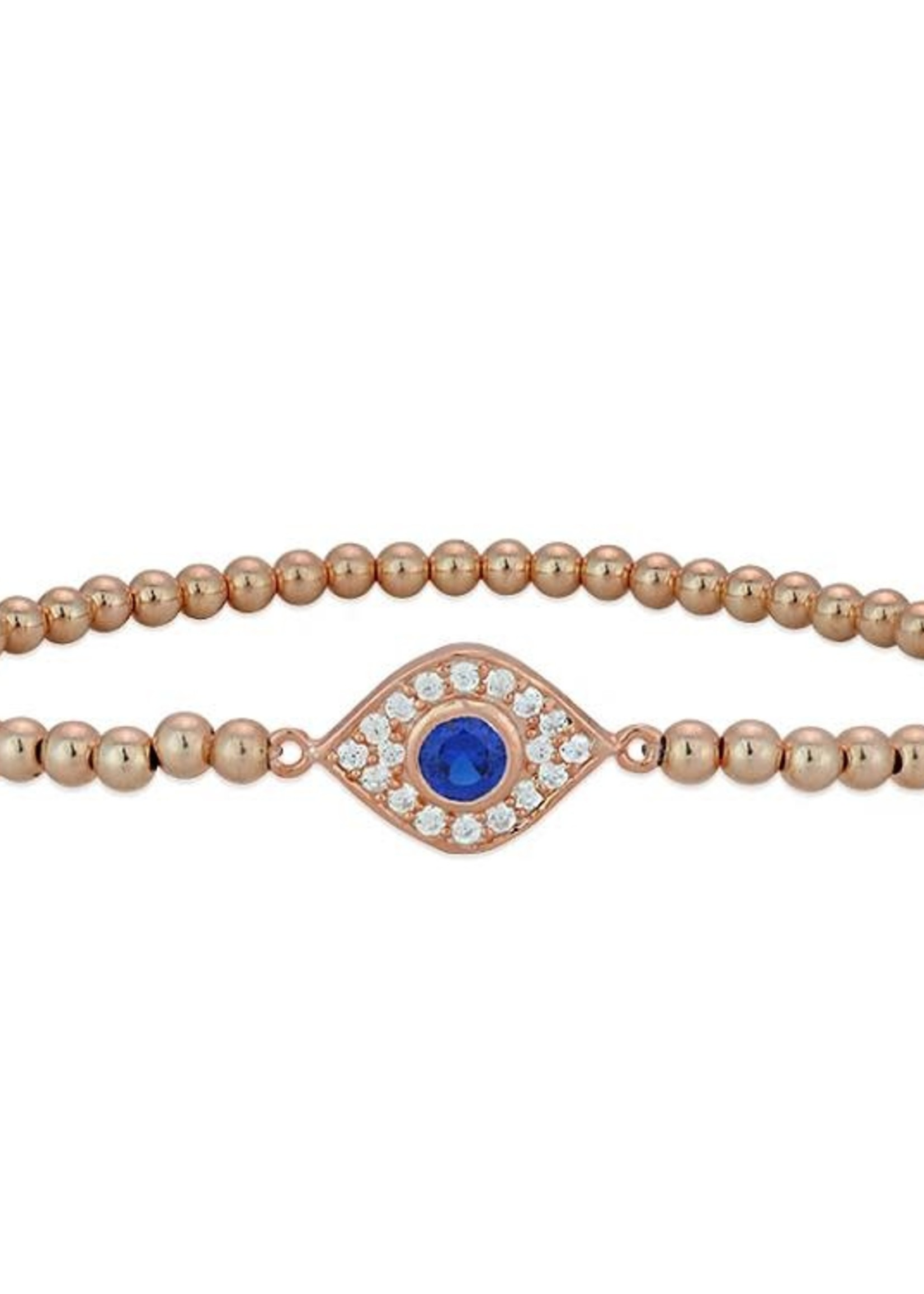 Rose Gold Pave Evil Eye Beaded Stacking