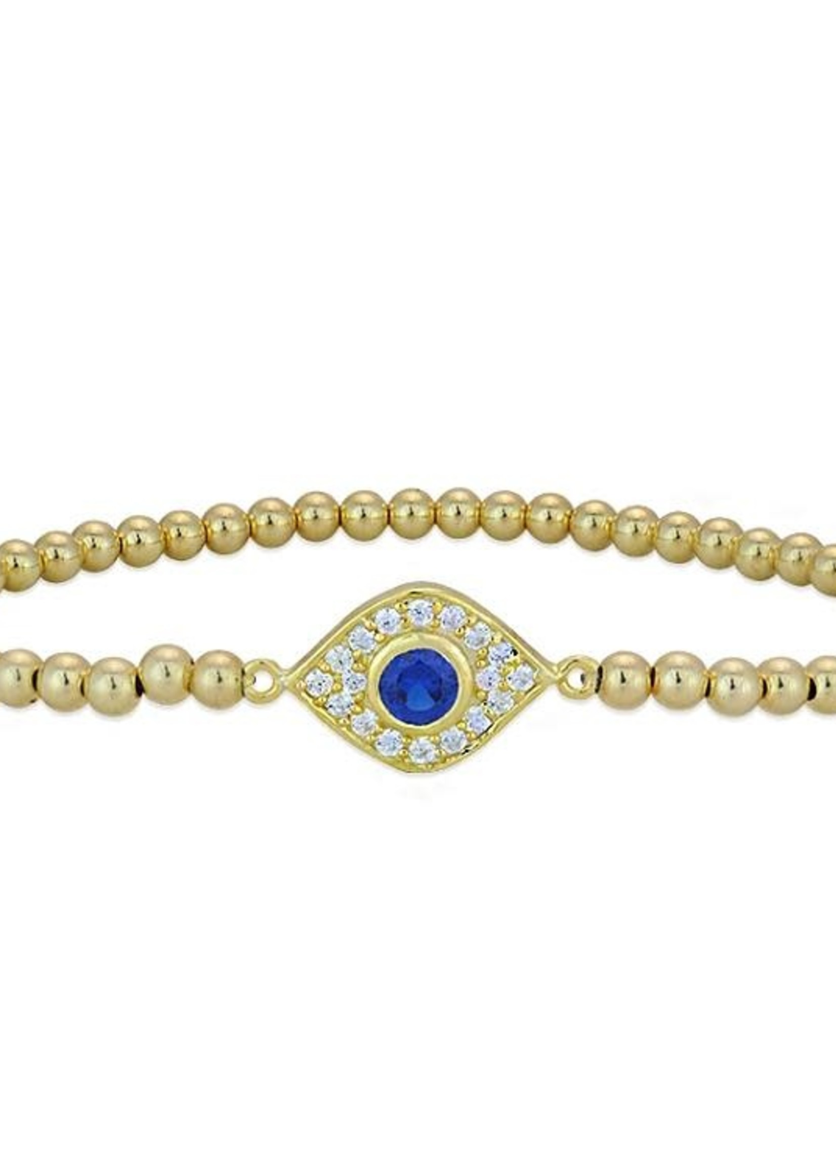 Gold Pave Evil Eye Beaded Stacking