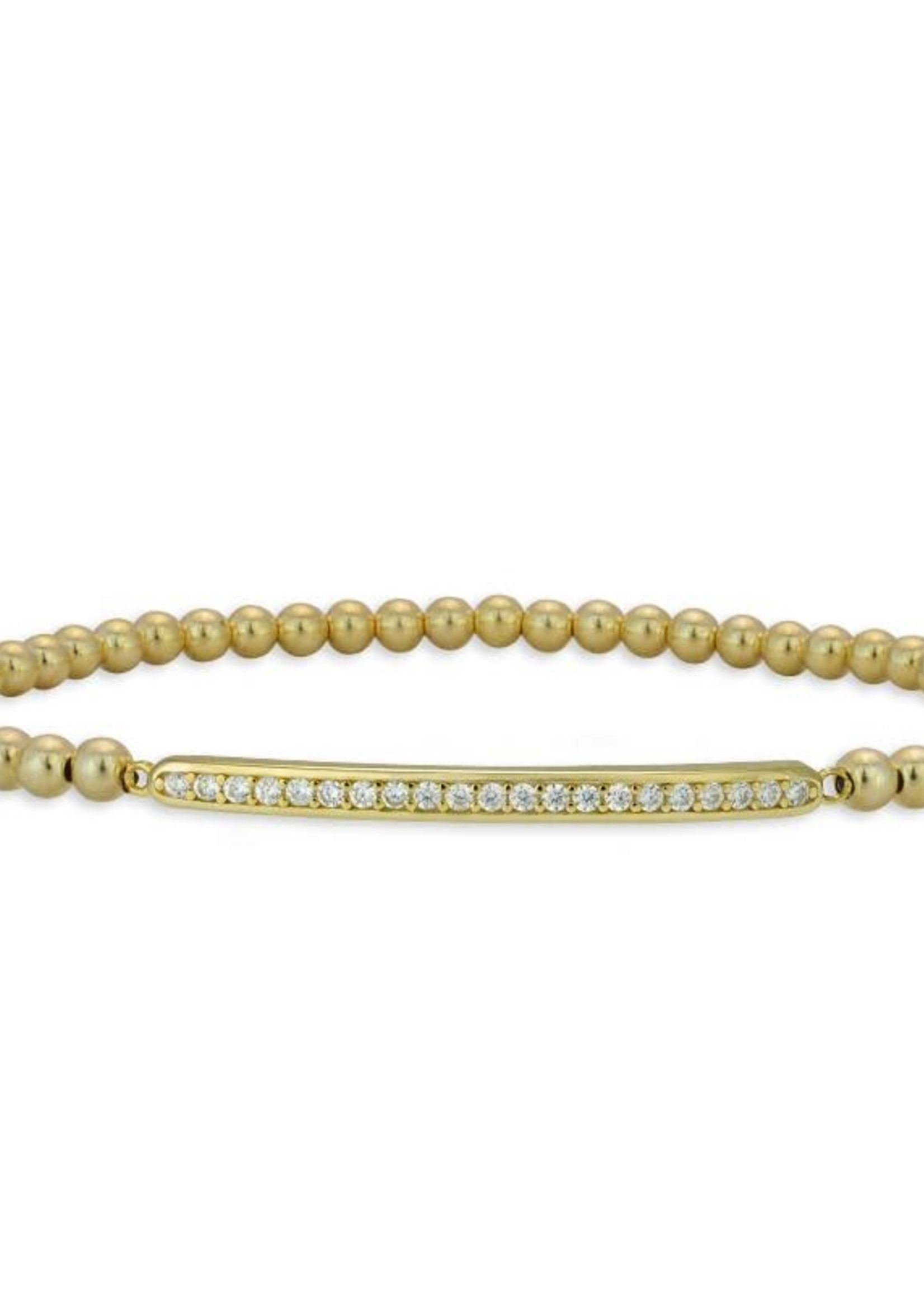 Gold Beaded Pave Bar Stacking
