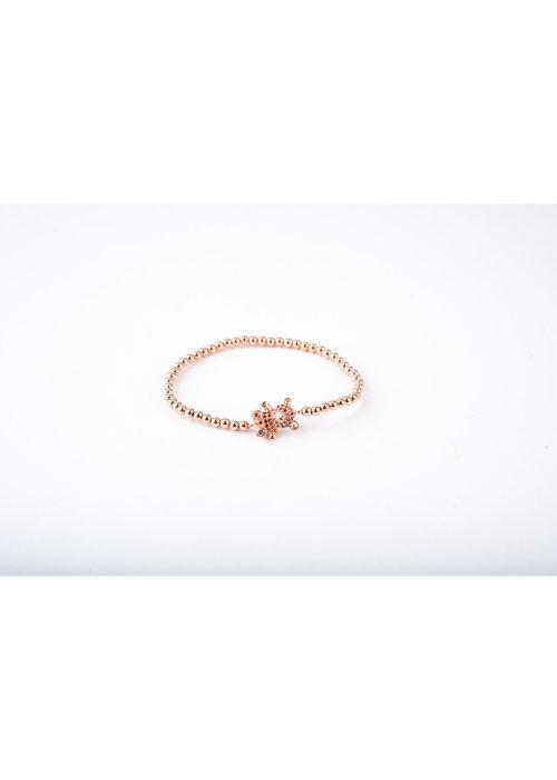 Mina Danielle Tiny Rose Gold Beads with Ruby Teddy Bear