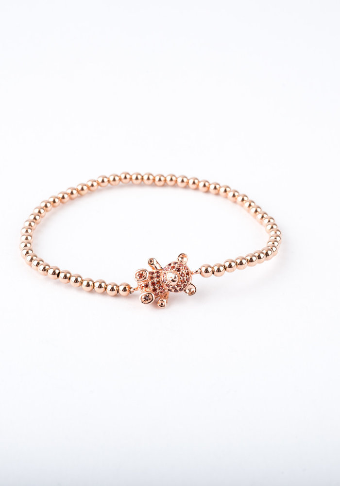 Tiny Rose Gold Beads with Ruby Teddy Bear