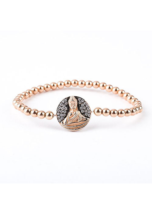 Mina Danielle Rose Gold Buddha Disc on Tiny Rosegold Beads