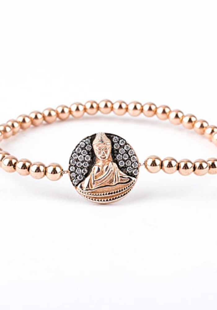 Rose Gold Buddha Disc on Tiny Rosegold Beads
