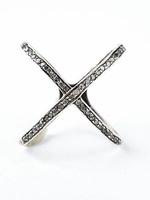 Mina Danielle Sterling Silver Oxidized Diamond X ring