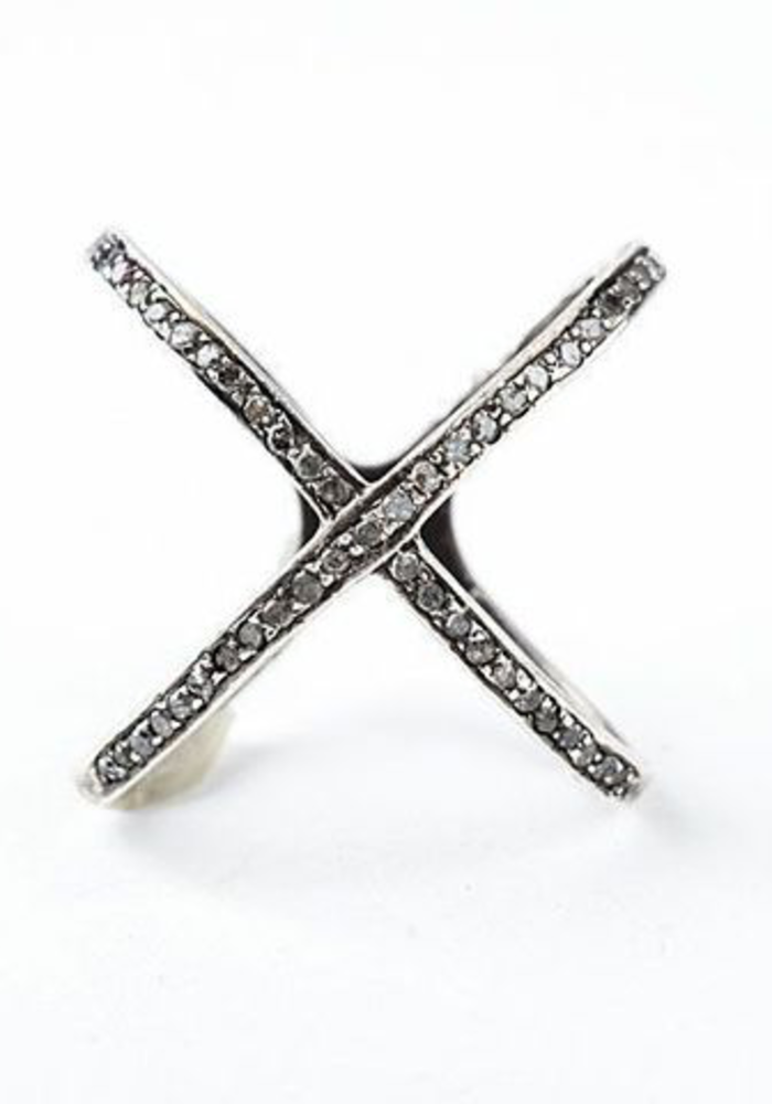 Sterling Silver Oxidized Diamond X ring
