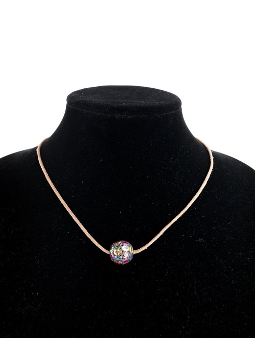 Mina Danielle Large Multi-Sapphire bead on tan leather cord
