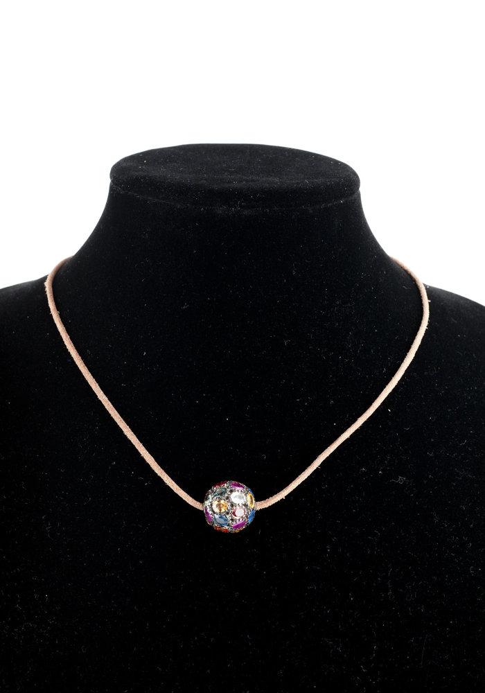 Large Multi-Sapphire bead on tan leather cord