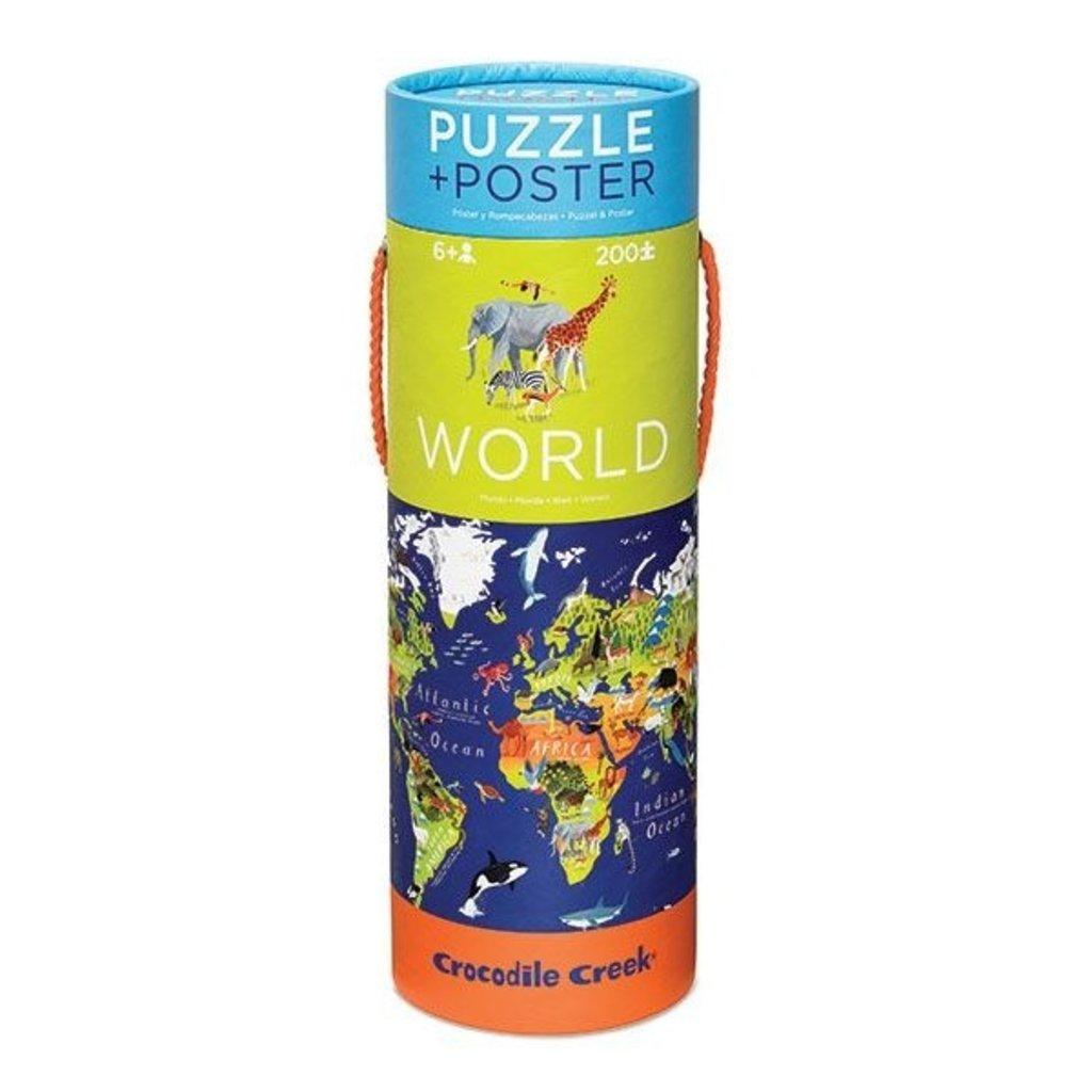 Crocodile Creek Crocodile Creek puzzle et Poster –monde animaux – 200 Pièces