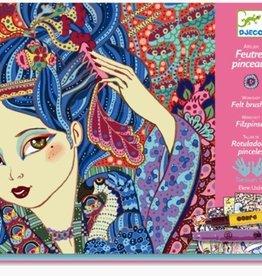 Djeco Atelier feutres pinceaux Jeunes filles aux cerisiers