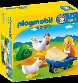Playmobil 6965 Agricultrice avec brouette et coq