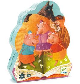 Djeco Puzzle silhouette 3 petits cochons