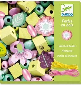 Djeco Perles en bois Feuilles et fleurs