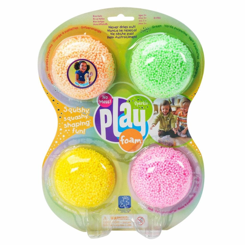 Educational Insights Billes à modeler Playfoam - Ensemble de 4 avec paillettes