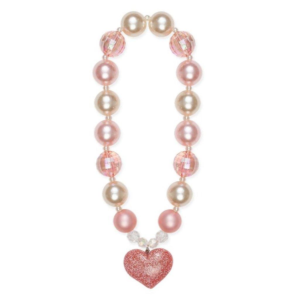 Great Pretenders Collier grosses perles avec coeur scintillant