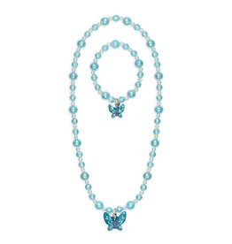 Great Pretenders Ensemble collier et bracelet papillon bleu