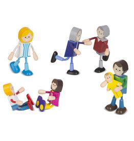 Melissa & Doug Figurines flexibles en bois - Famille caucasienne