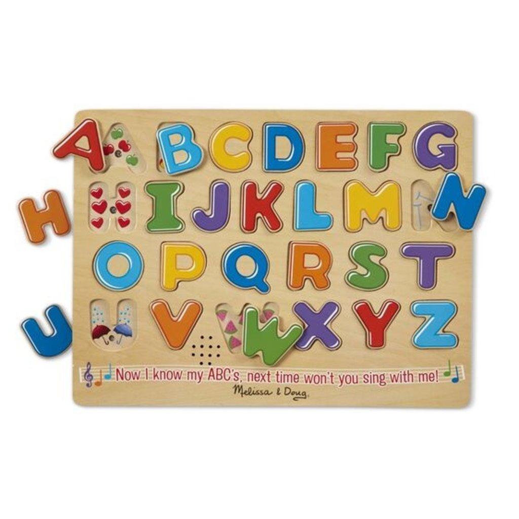 Melissa & Doug Casse-tête alphabet en bois sonore  26 pièces (anglais)