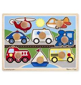 Melissa & Doug Puzzle de bouton Jumbo de véhicules pièces