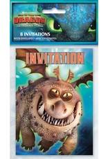 Unique 8 Cartes d'invitation Les dragons''Le mon'de cachés'
